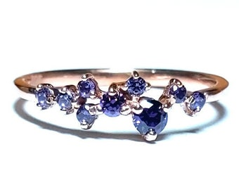 Cluster Ring - Amethyst Ring - Gold Ring - Amethyst Jewelry - Rose Gold Ring - Stacking Rings