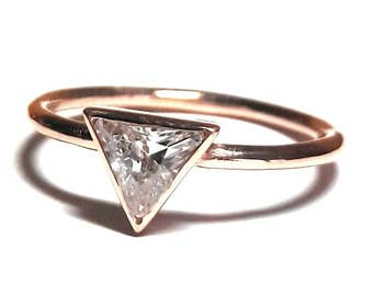 Solitaire Ring - Trillion Ring - Triangle Ring - Diamond Ring - Gold Ring - 925K Silver Zirconia Ring
