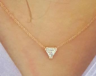 Trillion Necklace-Solitaire Necklace-Rose Gold Necklace-Diamond Necklace-Gold Necklace-925K Silver Trillion cut Zirconia Necklace