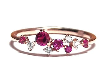 Ruby Ring - Cluster Ring - Gold Ring - Diamond Ring - Dainty Ruby Ring - Stacking Ring