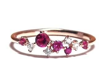 Ruby Ring-Gold Ring-Diamond Ring-Rose Gold Ring-925K Silver Zirconia Handmade Ruby Ring