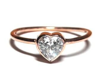 Heart Ring-Gold Ring-Diamond Ring-Rose Gold Ring-925K Silver Zirconia Heart Ring