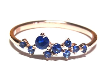 Gold Ring-Sapphire Jewelry-Rose Gold Ring-Sapphire Ring-Dainty Zirconia Ring-925K Silver Ring