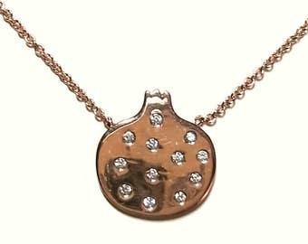 Pomagranade Necklace-Rose Gold Necklace-Diamond Necklace-925K Zirconia Pomagranade Necklace