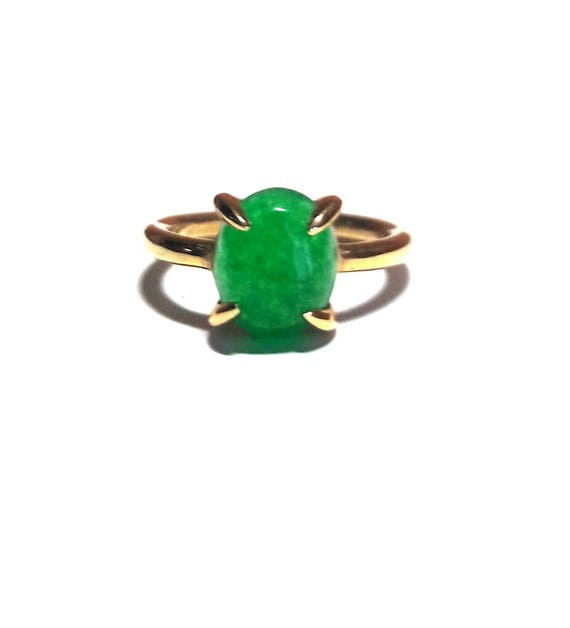 Emerald Ring-Jade Ring-Gold Ring-Rose Gold Ring-Handmade Jade Ring