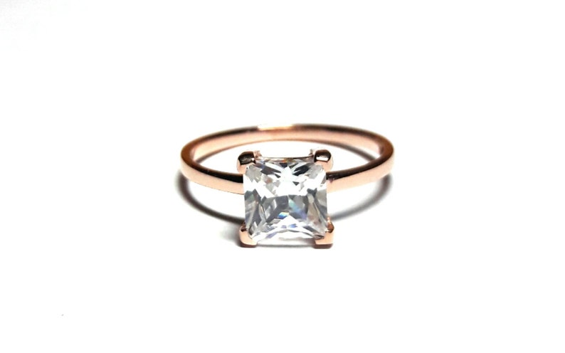14K Solid Gold Princess cut Ring-Diamond Ring-Gold Ring-Princess cut Ring-14K Solid Gold /& Zirconia Handmade Solitaire Ring