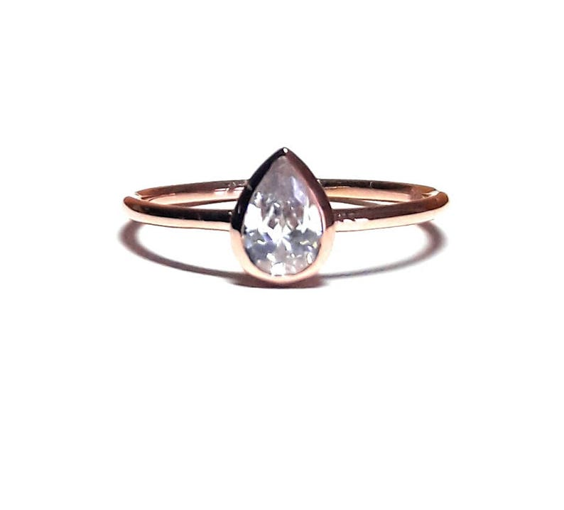 Pear Ring-Drop Ring-Solitaire Ring  Dainty Drop Ring  image 0