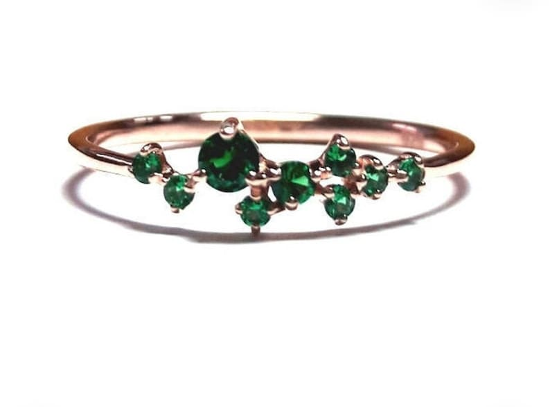 Emerald Ring-Cluster Ring-Dainty Emerald Ring-Gold Ring-Rose image 1