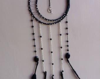 Black and silver beaded Dream Catcher