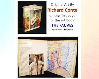 Richard Conte - original art inside first page of the Art Book - The Fauves and 5 photos