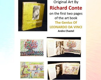 Richard Conte - original art inside first 2 pages of the book, The Genius Of Leonardo Da Vinci On Art And The Artist and 5 photos