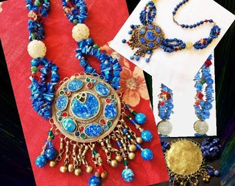 Tibetan Brass Lapis Crystal Necklace