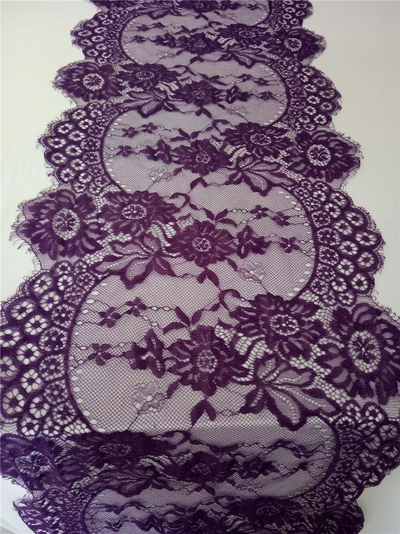 Dark Purple Lace Table Runner 12 Purple Table Etsy