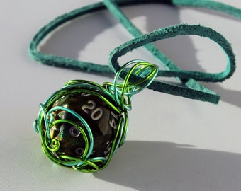 Wire-Wrapped Druid Green-Swirled D20 Dice Necklace