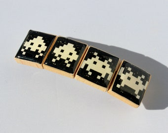 Space Invaders Inspired Hair Barrette - Video Game Inspired - 70mm