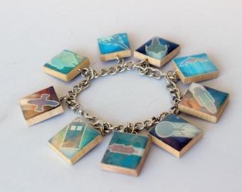 Sci Fi Spaceships Scrabble Tile Charm Bracelet