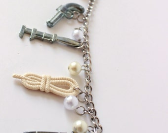 Clue Token Charm Bracelet with Pearl Beads
