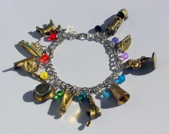 Gold Monopoly Token Charm Bracelet with Rainbow Beads