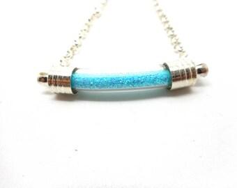 Glass tube bracelet blue glitter
