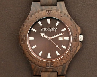 Wooden Watch Engraved, Black Wood Watch, Brown Mens Wood Watch, Engraved Mens Watch, Personalized Wooden Watch, Black Watch