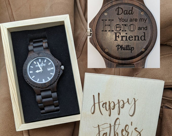 Customized Watch For Dads, Engraved Wood Watch For Father, Personalized Fathers Day Watch, Gift For Dad, Best Dad Ever Watch Box, Wood Watch