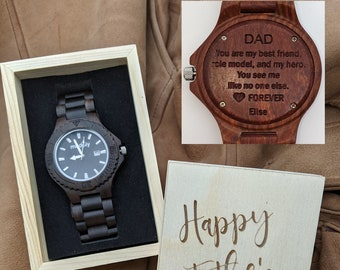 Wood Engraved Watch With Box For Fathers Day Perfect Gift For Your Beloved Dad, Personalization
