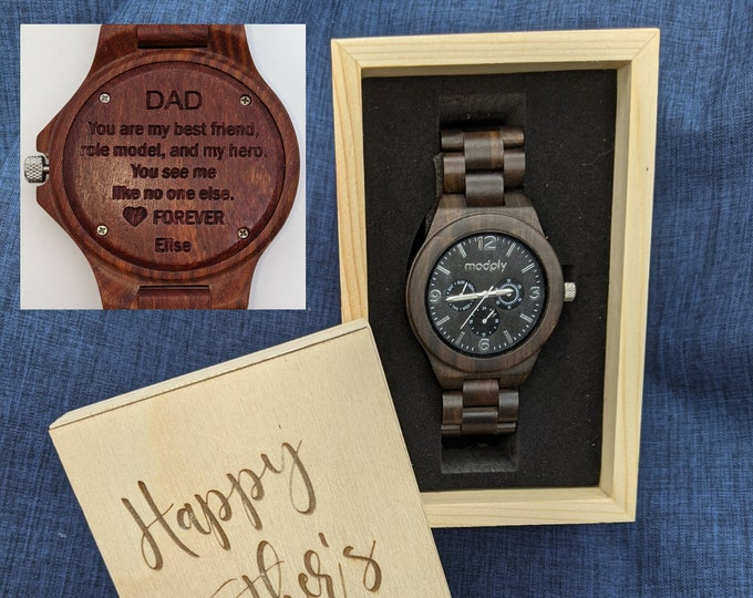 Fathers Day Gift Watch Box, Dad Watch Box, Wooden Watch, Personalized Fathers Day, Customized Watch, Engraved Watch Box, Men Watch Box