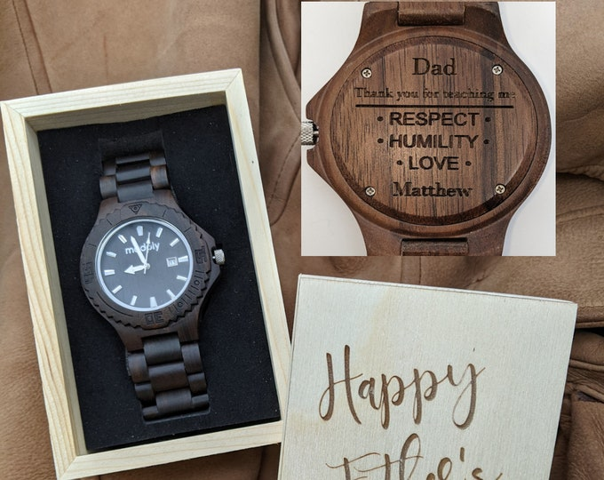 Fathers Day Еngraved Watch Wood Dad Watch Box Personalized Gift For Dad Customized Watch Box Initials Watch Box Wrist Wood Watch Daddy Gift