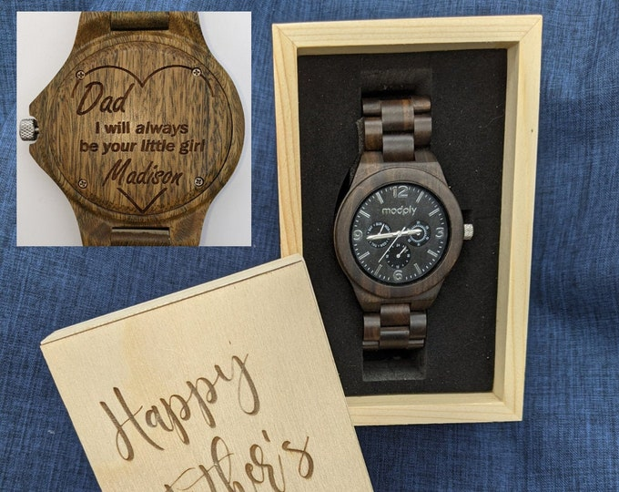 Fathers Day Gift, Engraved Wood Watch Box, Personalized Dad Gift, Customized Watch, Fathers Day Initials Watch, Daddy Gift From Daughter