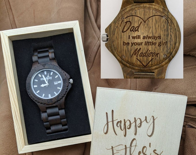 Custom Fathers Day Gift, Wooden Watch Box, Engraved Watch Box, Personalized Dad Gift, Men Wrist Watch, Father Of The Bride Watch, Daddy Gift