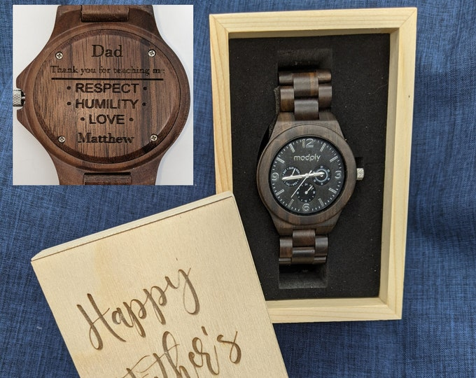 Fathers Day Gift From Daughter, Wood Watch Box For Men, Men Watch Box, Engraved Watch, Dad Gift, Personalized Watch Box, Custom Watch Box