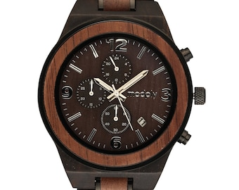 Premium Mens Engraved Wooden Watch makes a great Birthday Gift for Him, Retirement Gift, Anniversary Gift or Engagement Gift