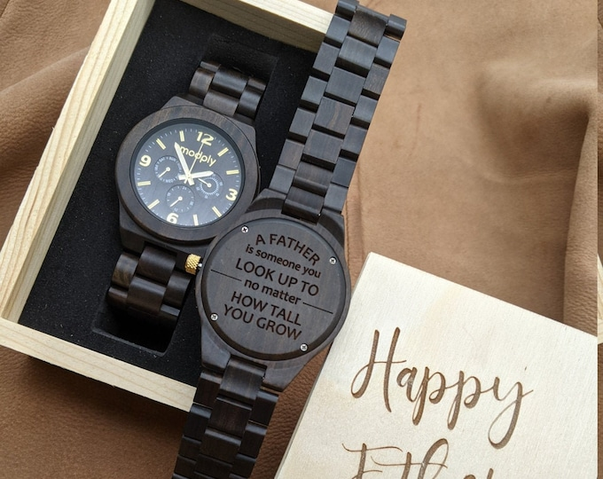 Fathers Day Еngraved Wood Watch With Wood Gift Box, Wooden Watch For Dad, Personalized Fathers Day Gift, Custom Fathers Day Gift Box, Daddy