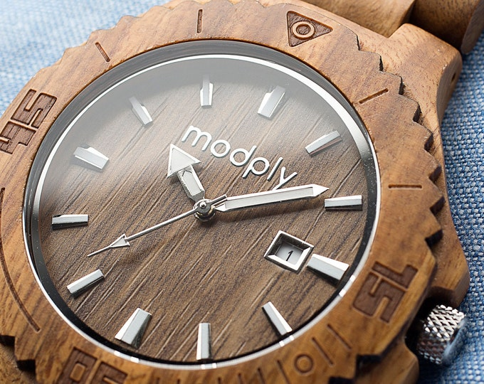 Wooden Watch For Men, Bamboo Watch, Engraved Watch, Men Wrist Watch, Engagement Gift, Monogram Watch, 5th Anniversary Gift, Groom Watch