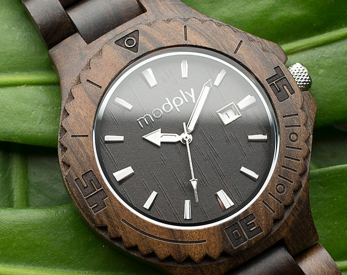 Wooden Watch Engraved, Black Wood Watch, Brown Mens Wood Watch, Engraved Mens Watch, Personalized Wooden Watch, Black Watch