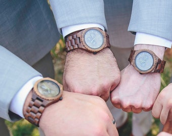 Groomsmen Gift Set of 4-16 Engraved Wood Watches for Groomsman Gift, Father of the Bride Gift, Father of the Groom Gift, Wedding Officiant