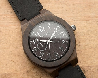Personalized Leather Wooden Watch, Custom Engraved Wood Watch, Wood Watch for Man