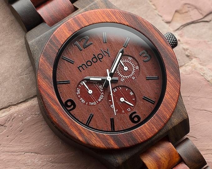 Blackwood & Red Wood Watch, Men's Watch, Engraved Watch, Wooden Watch, Personalized Watch, Groomsmen Gift, Boyfriend Gift, Anniversary Gift