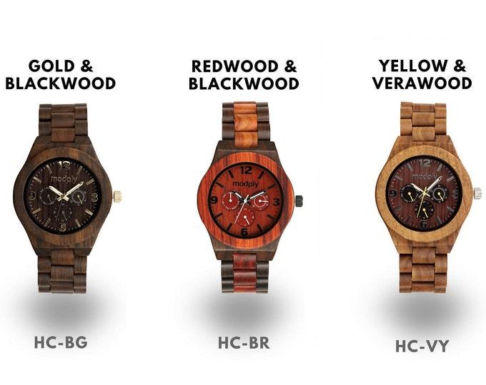 Wooden Watch, Engraved Watch, Men Watch, Christmas Gift, Wrist Watch, Analog Watch, Boss Gift, Gold Watch, Unique Watch, Monogram Watch