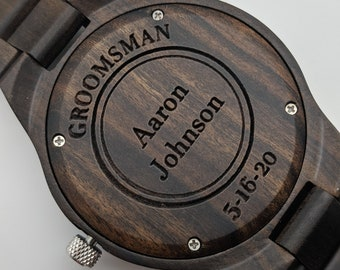 5 Wood Watches For Groomsmen, Engraved Watch Set, Father Of The Groom Gift, Wedding Watches Set, Monogram Watches, Personalized Watches