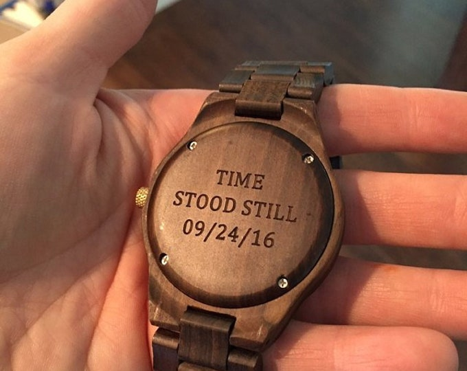 Engraved Wooden Watch, Wood Watch For Men, Anniversary Gift For Him, Birthday Gift, Groomsmen Gift, Personalized Wood Watch, Teacher Gift