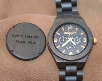 Wooden Watch, Men Watch, Engraved Wood, Personalized Watch, Custom Watch, Wrist Watch, Gift For Him, Wood Jewelry, Analog Watch, Thankful