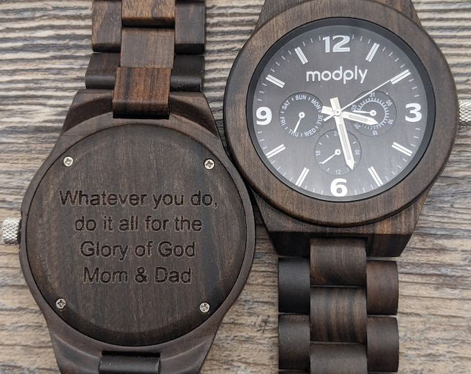 Custom Engraved Wooden Watch, Birthday Gift For Him, Wooden Watch For Men, Personalized Watch, Personalized Guy Gift, Boss Day Gift