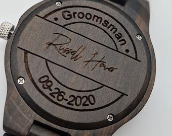 Groomsmen Gift, Best Man Watch, Engraved Watch, Personalized Watch, Father Of The Bride Gift, Groomsmen Proposal, Monogram Watch, Wood Watch