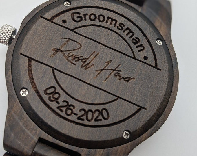 5 Groomsmen Gift Set Wood Watches - FAST PRIORITY SHIPPING.  Also Great Best Man Gift, Father of the Bride Gift, Groomsmen Gift