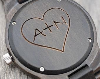 Wooden Watch, Mens Watch, Personalized Watch, Custom Watch, Anniversary Gift, Engraved Watch, Couple Watch, Boyfriend Gift, Wedding Watch