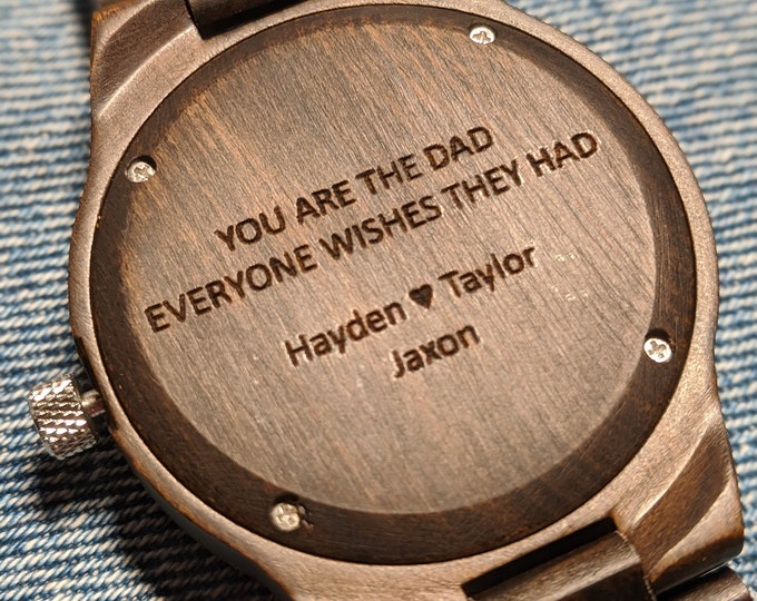 Personalized Father's Day Gift, Custom Engraved Watch, Mens Wooden Watch, Wooden Watch for Man, 5th Anniversary Gift, Practical Husband Gift