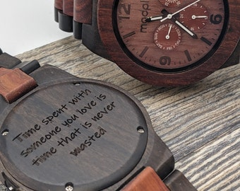 Personalized Watch For Men, Engraved Wood Watch, Custom Watch, Fathers Day Gift, Analog Watch, Wood Jewelry For Men, Personalized Gift