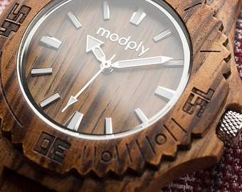 Men's Wood Watch, Personalized Watch, Men's Gift, Anniversary Gift, Groomsmen Gift, Groomsman Gift, Engraved Watch