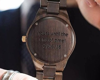 Stocking Fillers For Men, Wood Watch For Men, Engraved Watch, Personalized Watch, Custom Watch, Christmas Stocking, Monogram Watch For Men
